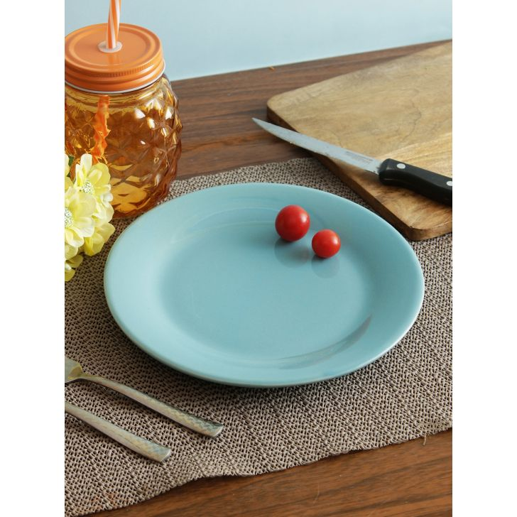 Ceramic Plate in Teal Colour by Living Essence