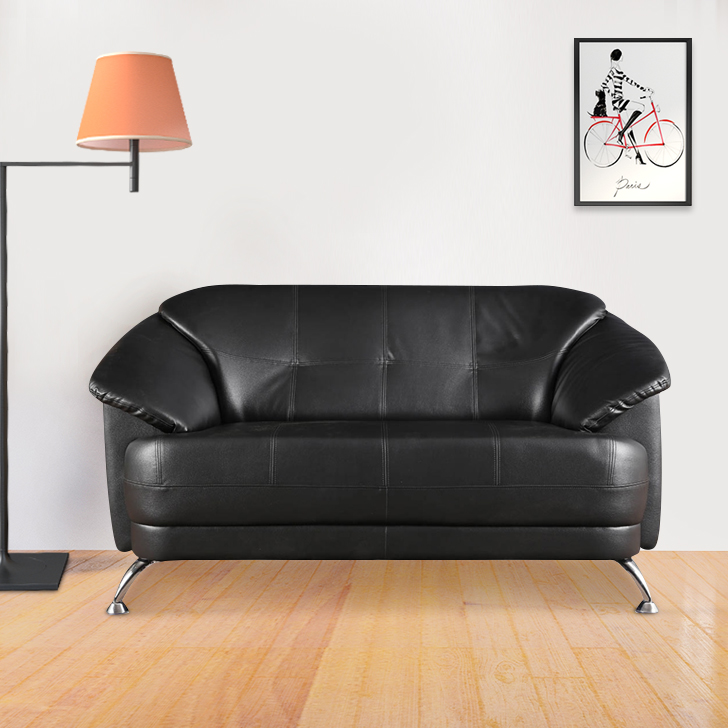 Corinth Leatherette Two Seater Sofa in Black Colour by HomeTown