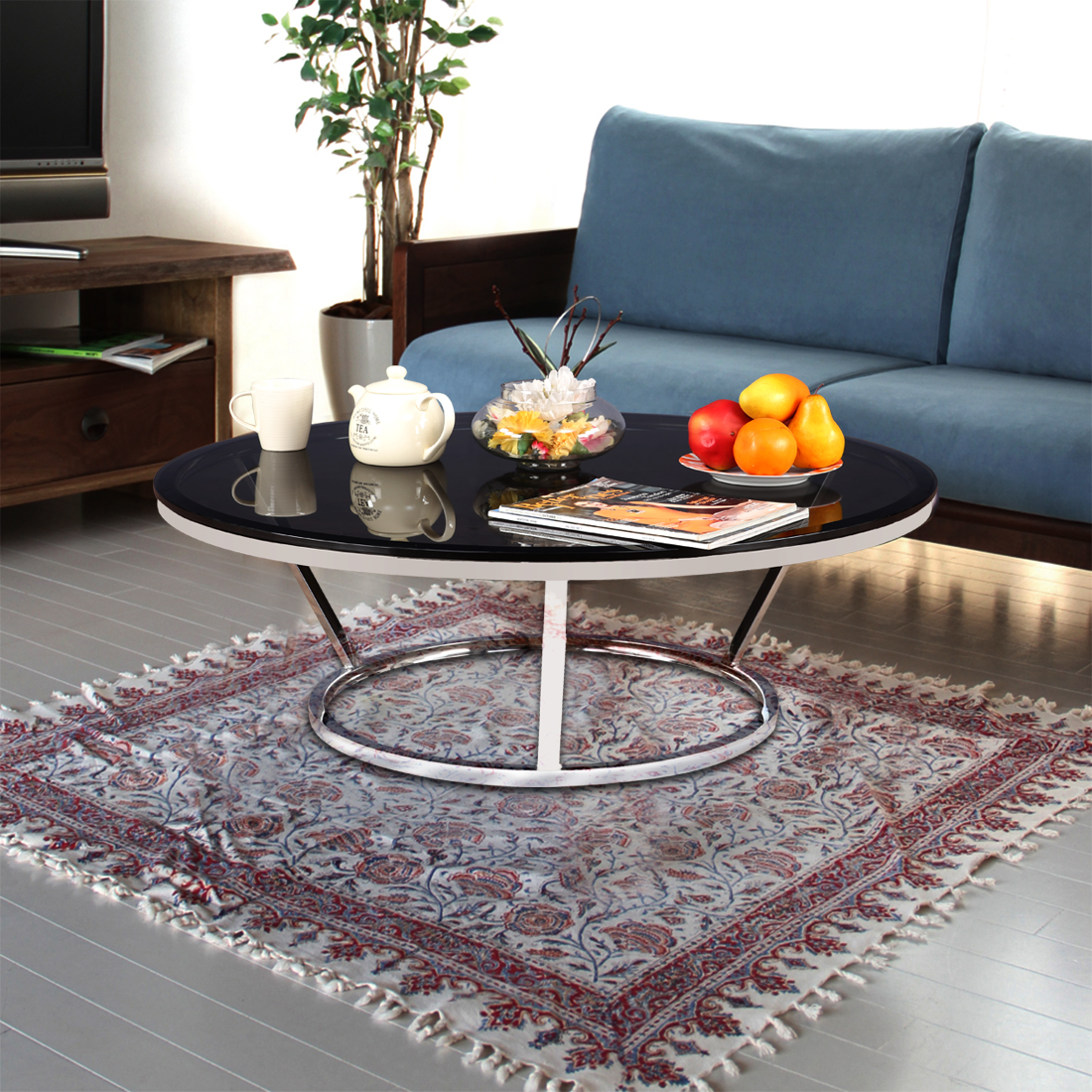 Salamon Stainless steel Glass Top Center Table in Black & Grey Colour by HomeTown