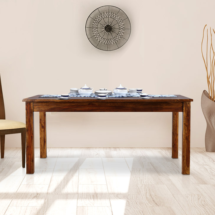 Karent Engineered Wood Six Seater Dining Table in Teak Colour by HomeTown