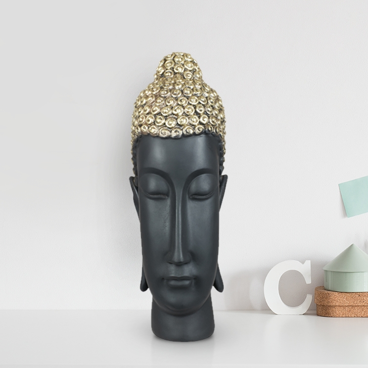Miraya Buddha Head Polyresin Table Decor in Black Colour by Living Essence