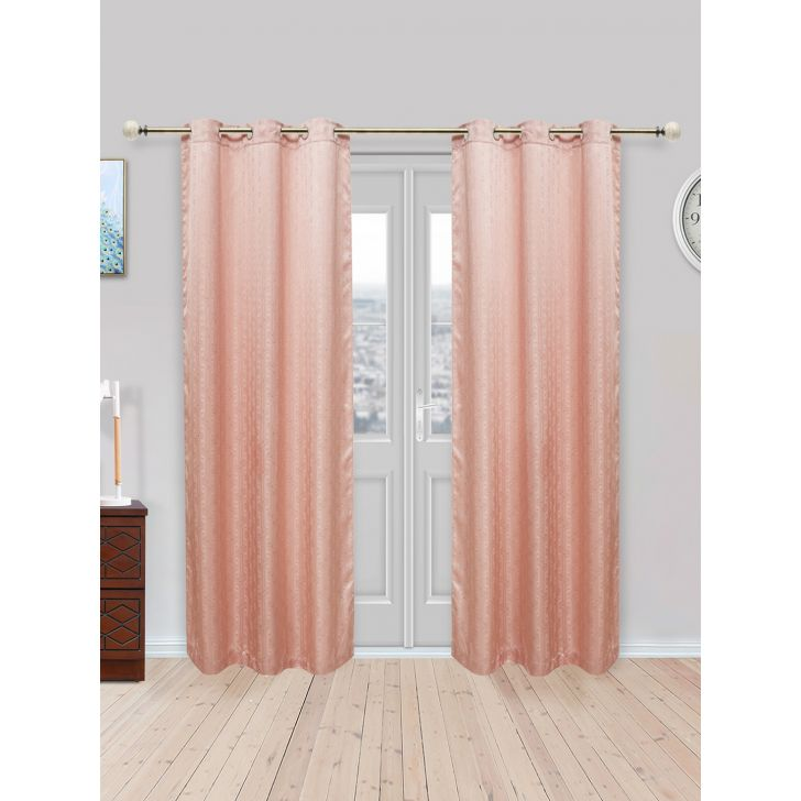 Fiesta Set of 2 Polyester Door Curtains in Blush Colour by Living Essence