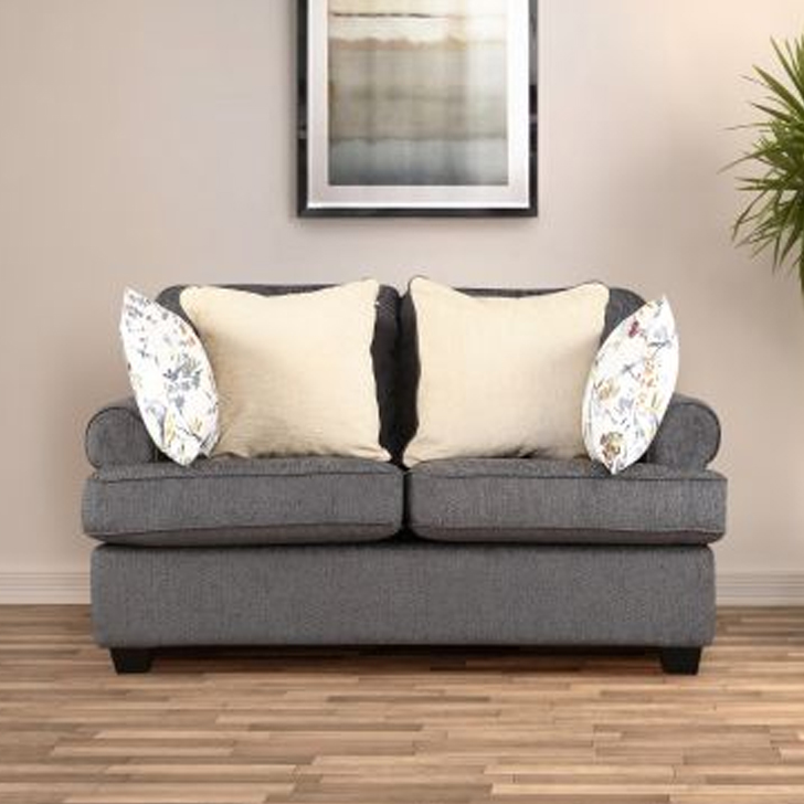 Nicholas Fabric Two Seater sofa in Grey Colour by HomeTown