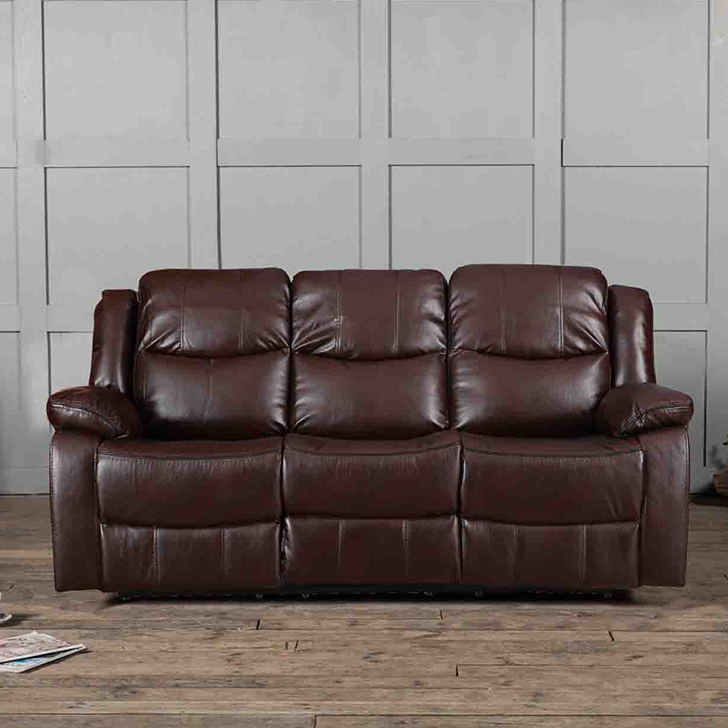 Hugo Fabric Three Seater Recliner in Brown Colour by HomeTown
