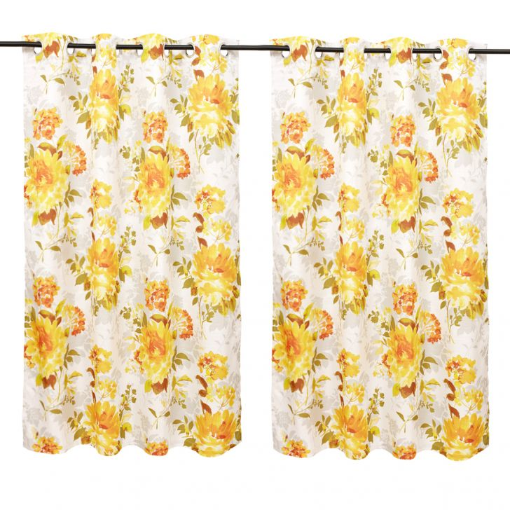 Nora Printed set of 2 Polyester Window Curtains in Mustard Colour by Living Essence