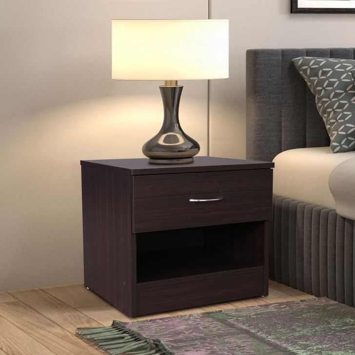 Dazzle Engineered Wood Bedside Table in Walnut Colour by HomeTown