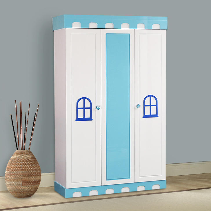 Castle Engineered Wood Three Door Wardrobe in Highgloss White & Blue Colour by HomeTown