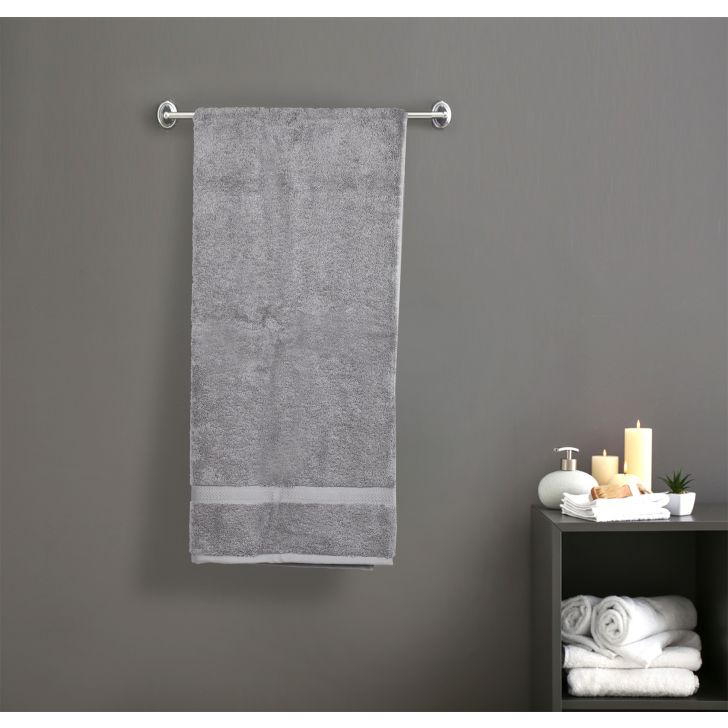 Solid PC Poly Blend Bath Towels in Grey Colour by Dreamline