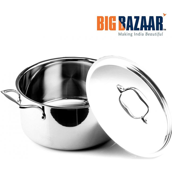 Trinox Triply Induction Base Casserole 28 cm with Lid Stainless steel Cooking Vessels in Silver Colour by Wellberg