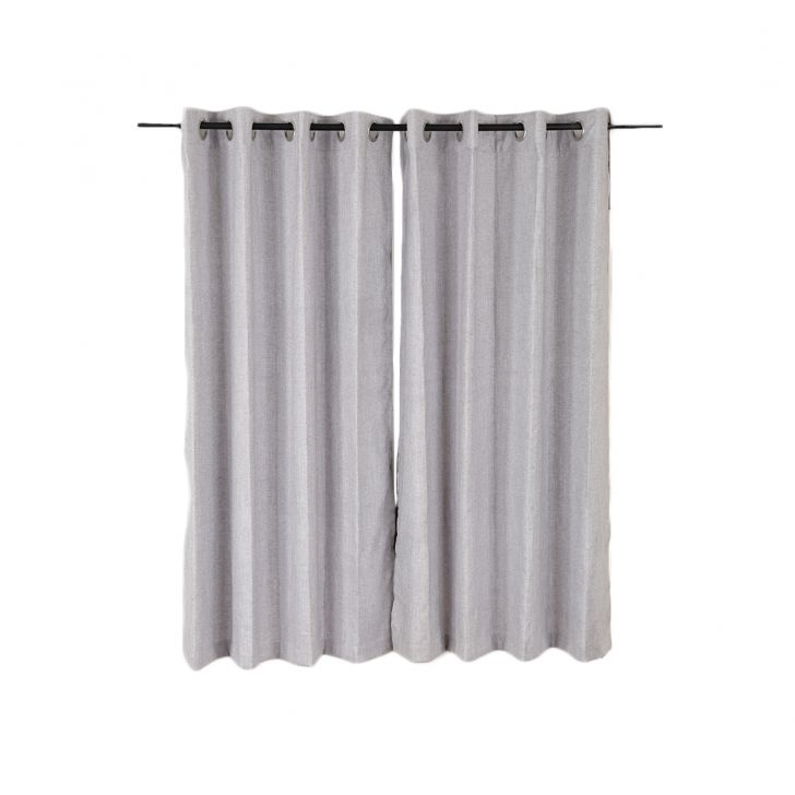 Amour Cotton Polyester Window Curtains in Grey Colour by Living Essence