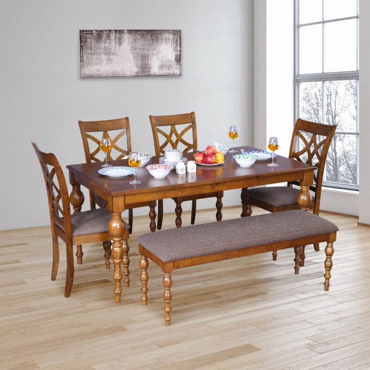 Tobago Solid Wood Six Seater Dining Set in Brown Colour by HomeTown