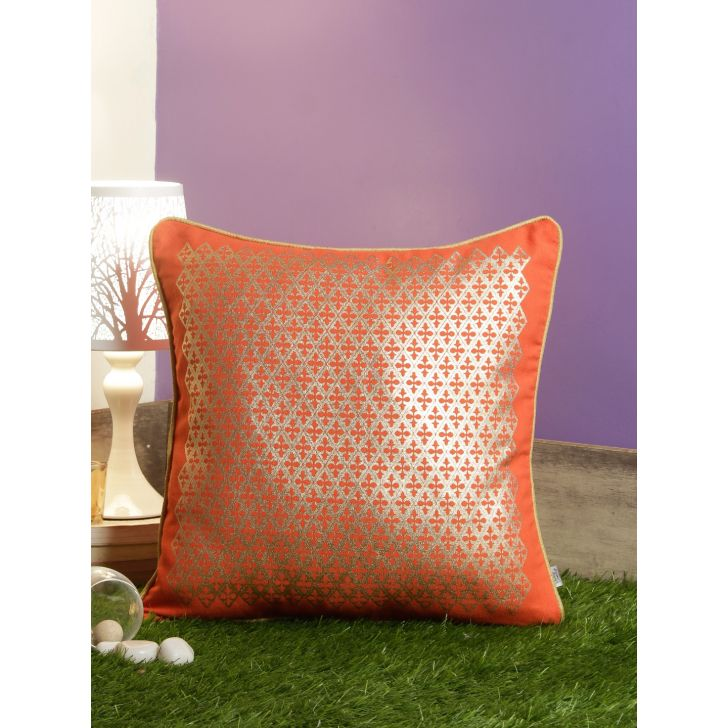 Folklore Jaal Cotton Cushion Covers in Coral Colour by Living Essence