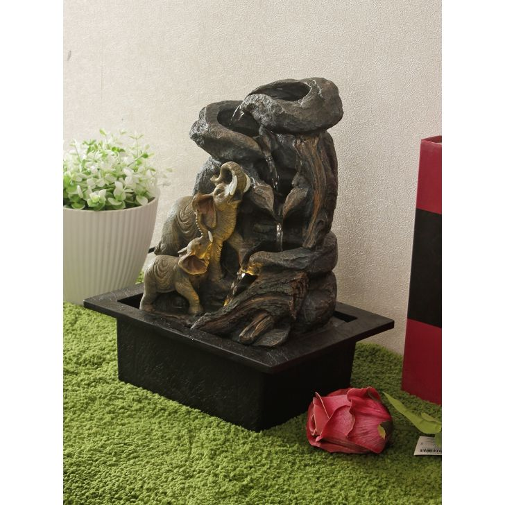 Impression Polyresin Elephant Fountain in Brown Colour