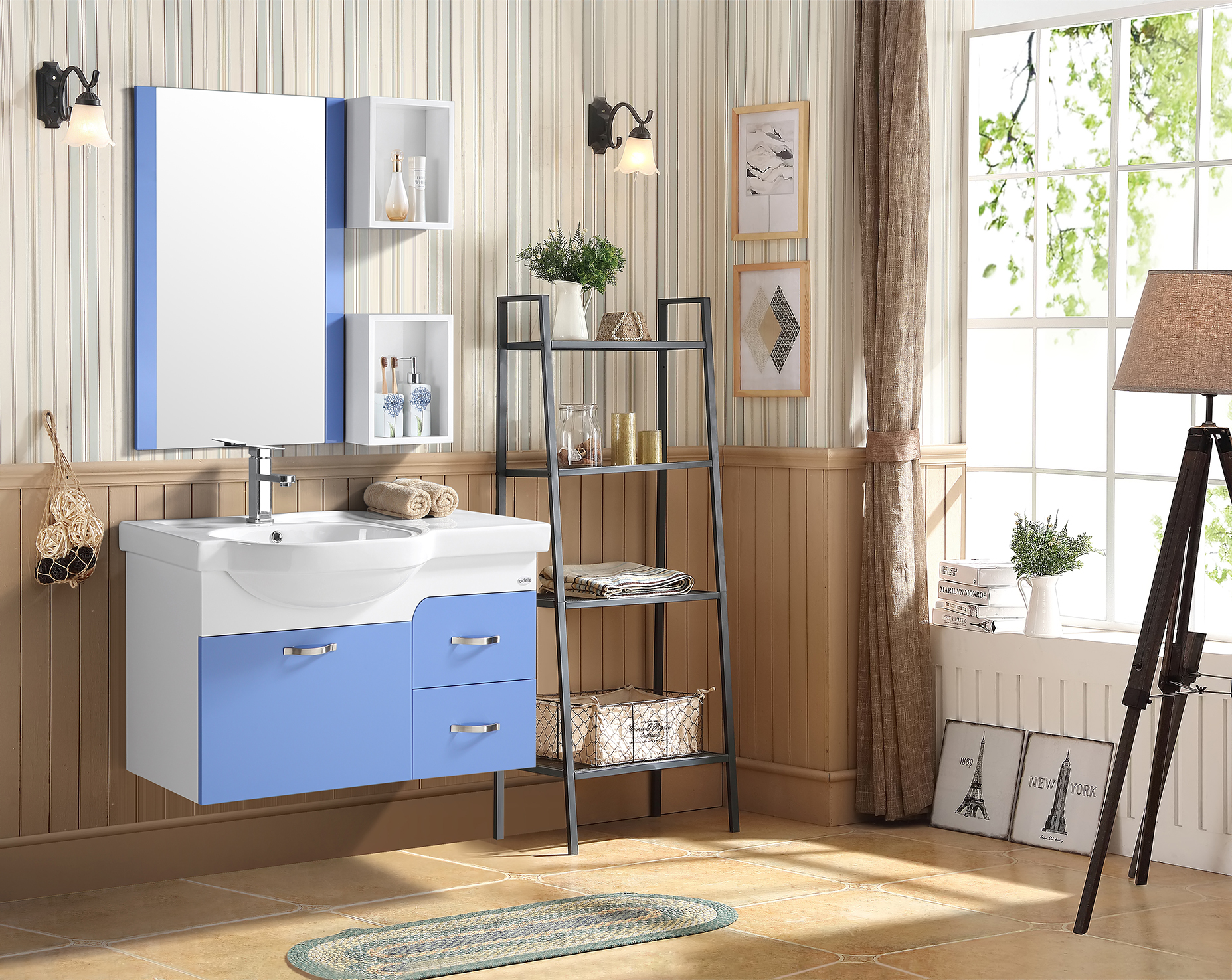 Kaiser Bath Vanity in Blue & White Colour by HomeTown