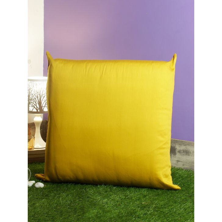 Nora Palette Solid Polyester Cushion Covers in Mustard Colour by Living Essence