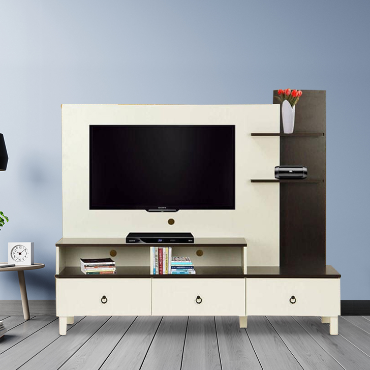Lauren Engineered Wood TV Unit in White & Walnut Colour by HomeTown