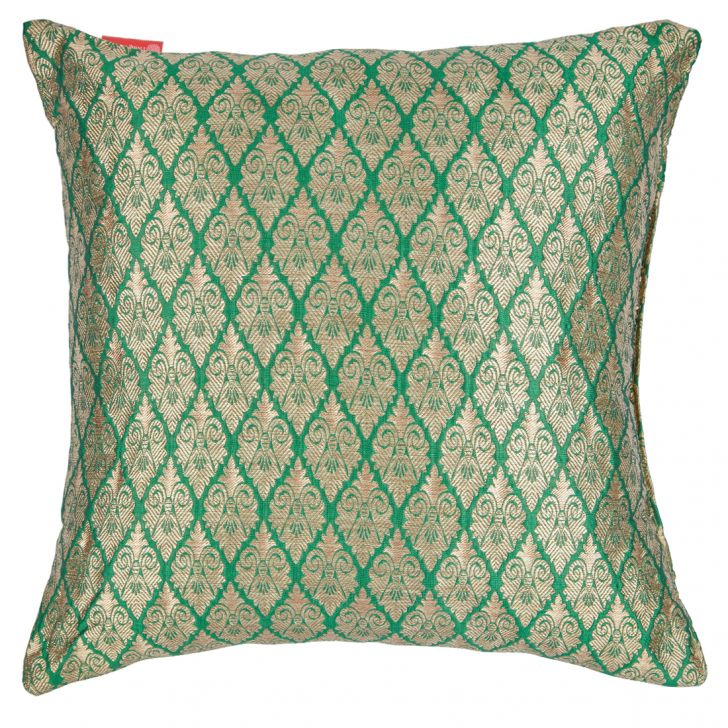Filled Cushion Miraya Green Beige Brocade Cushion Fillers in Brocade Colour by Living Essence
