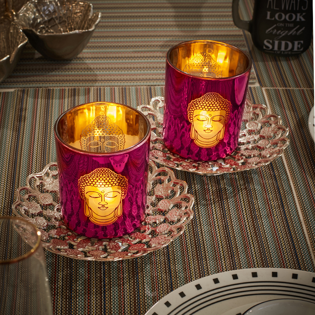 Zahara Set Of 2 Buddha Face Glass Candle Holders in PINK Colour by Living Essence