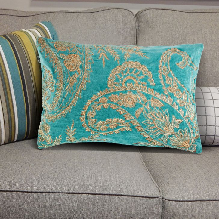 Paisley Dusty Cushion Covers in Dusty Blue Colour by Living Essence