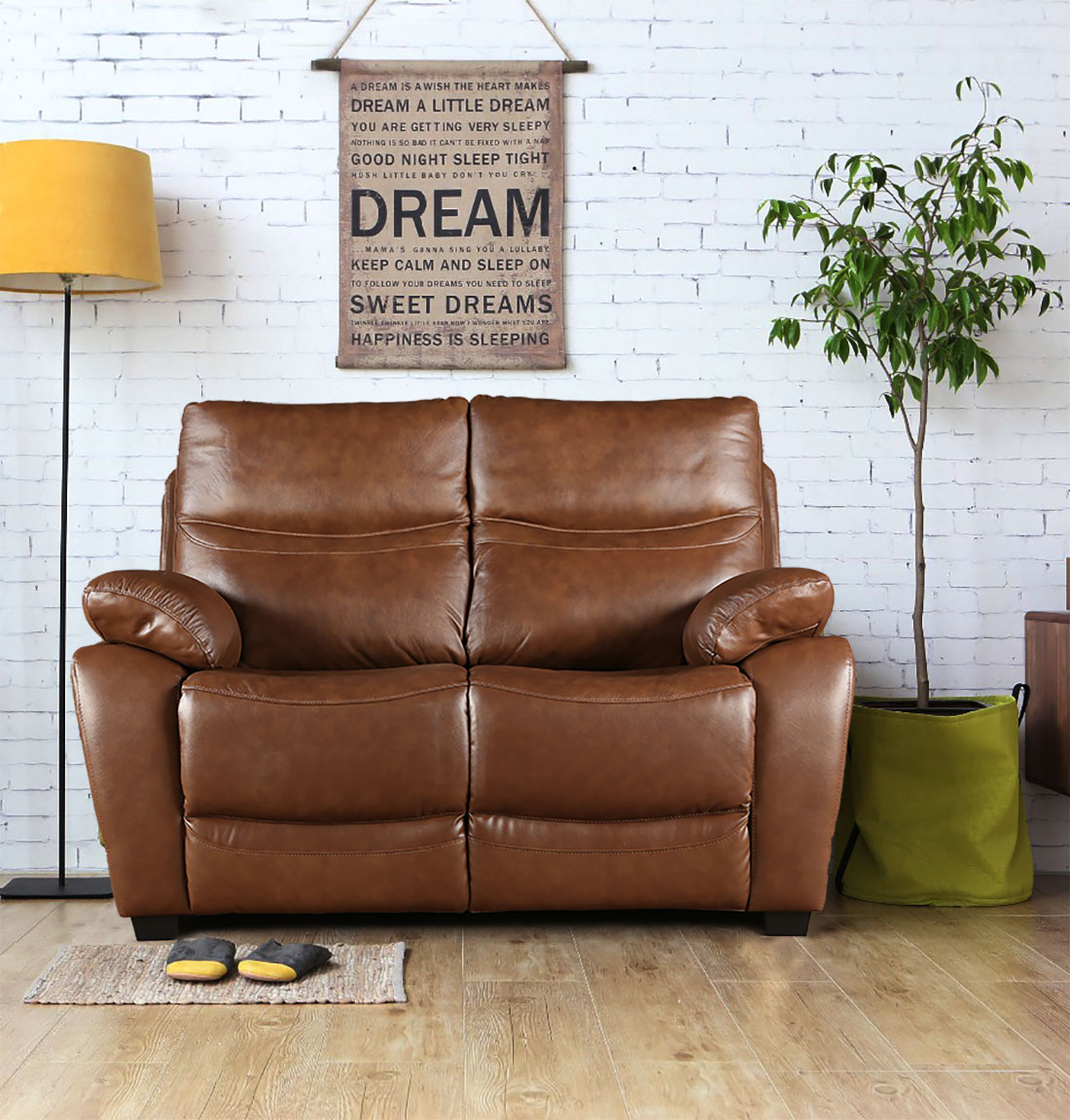 Lopez Half Leather Two Seater Sofa in Brown Colour by HomeTown