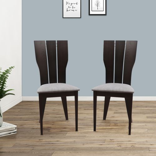 Buy Sanchez Solid Wood Dining Chair Set Of Two In Charcoal Colour By