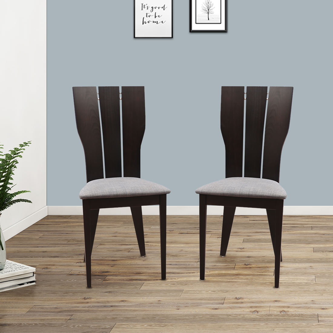 Sanchez Solid Wood Dining Chair Set of Two in Charcoal Colour by HomeTown