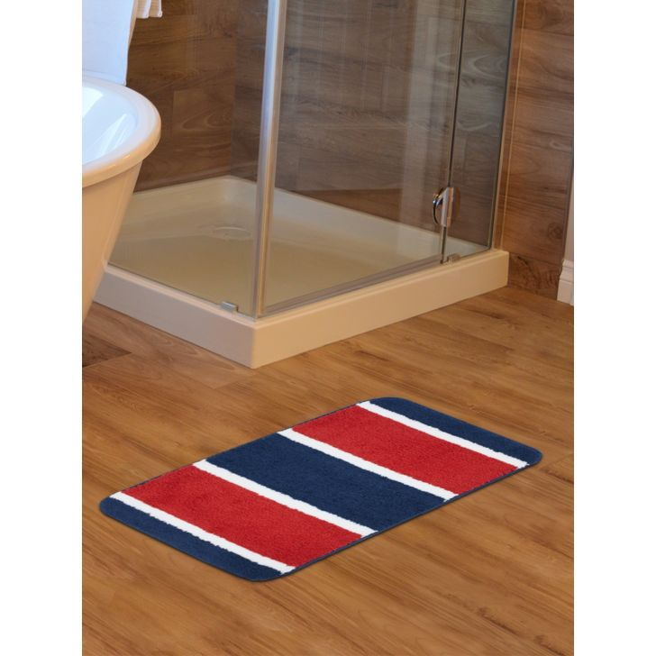Emilia Set of 2 Polyester Bath Mats in Rust Navy Colour by Living Essence