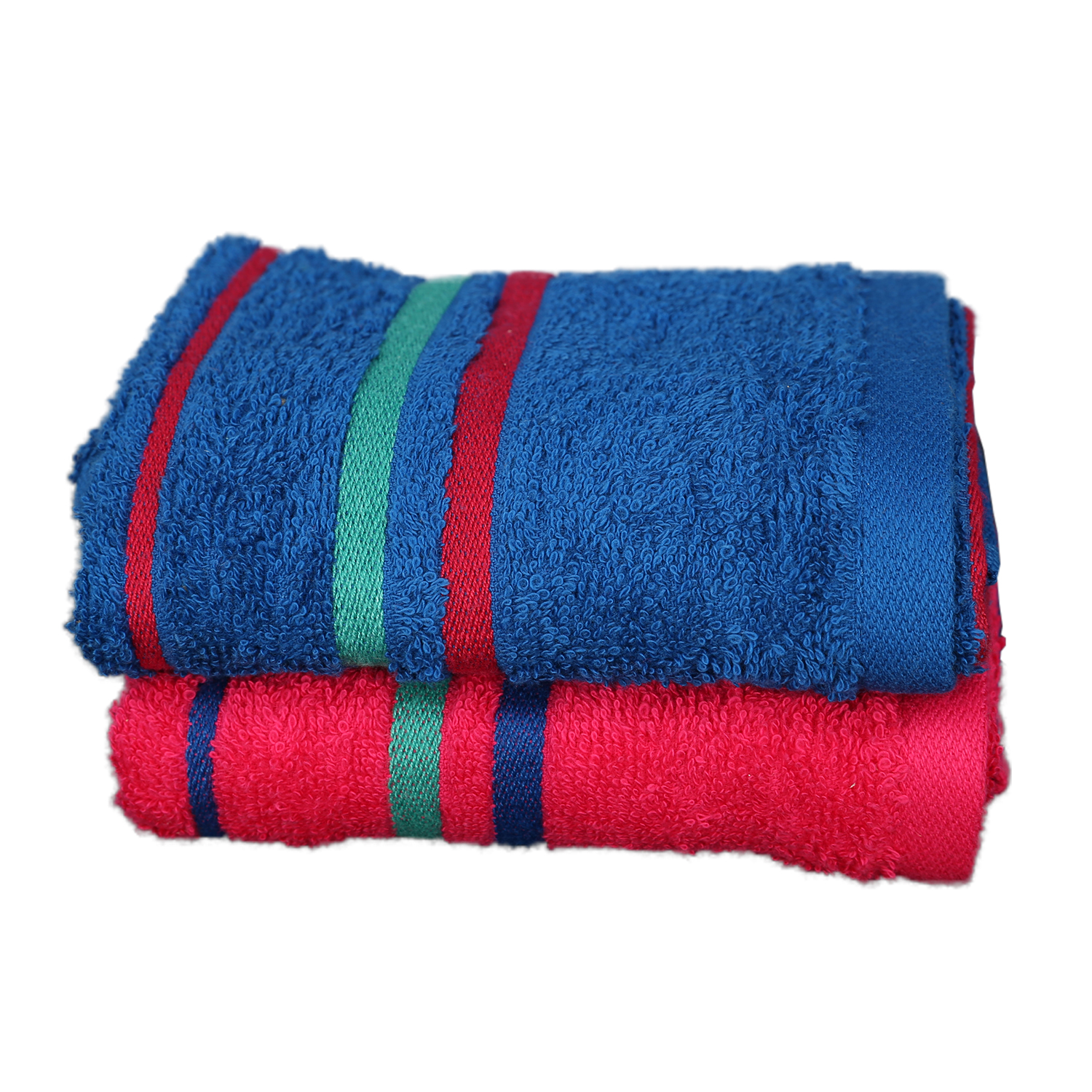 Emilia Carded Cotton Hand Towels in Blue & Fuchsia Colour by Living Essence