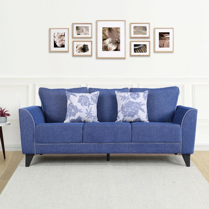Chester Fabric Three Seater Sofa in Blue Colour by HomeTown