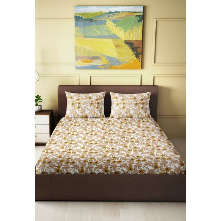 Tussah Cotton King Bedsheet 274 x 274cms in Sand Colour