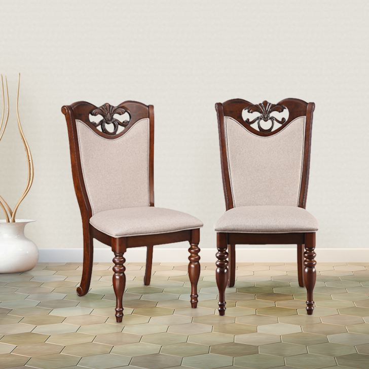 Hubert Solid Wood Dining Chair Set of Two in Dark Brown Colour by HomeTown