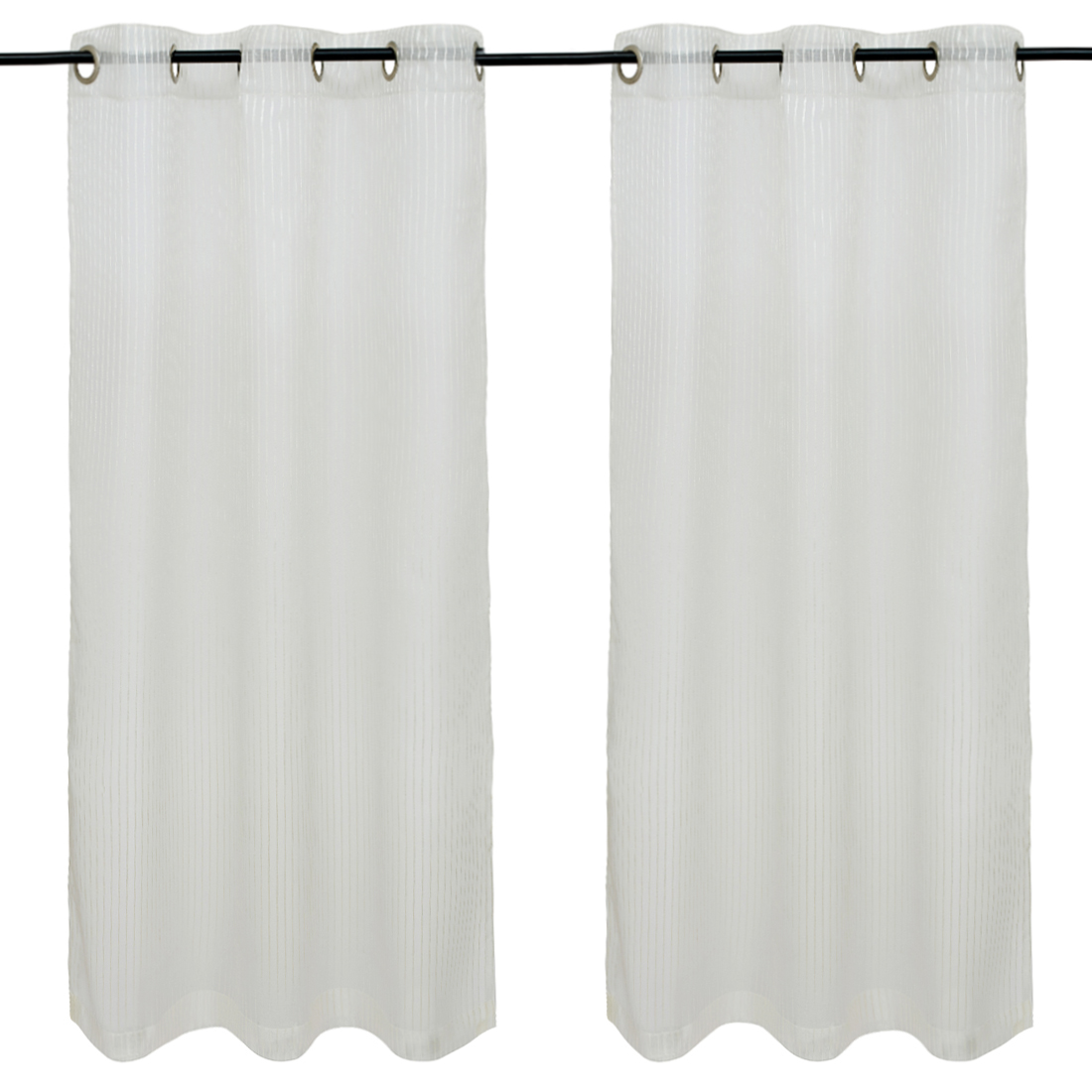 Amour set of 2 Polyester Window Curtains in Charcoal Colour by Living Essence