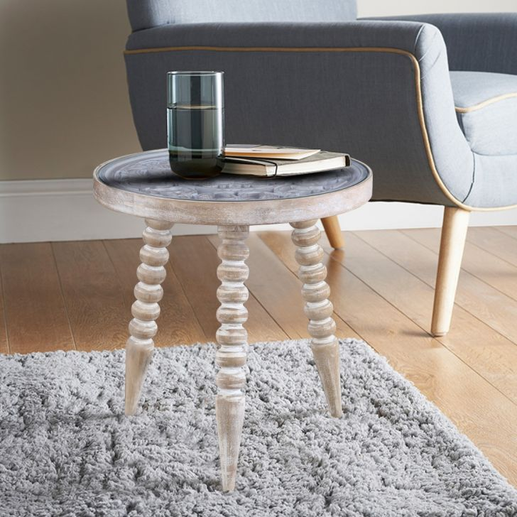 Antico Solid Wood Curved Stool in White Colour by HomeTown