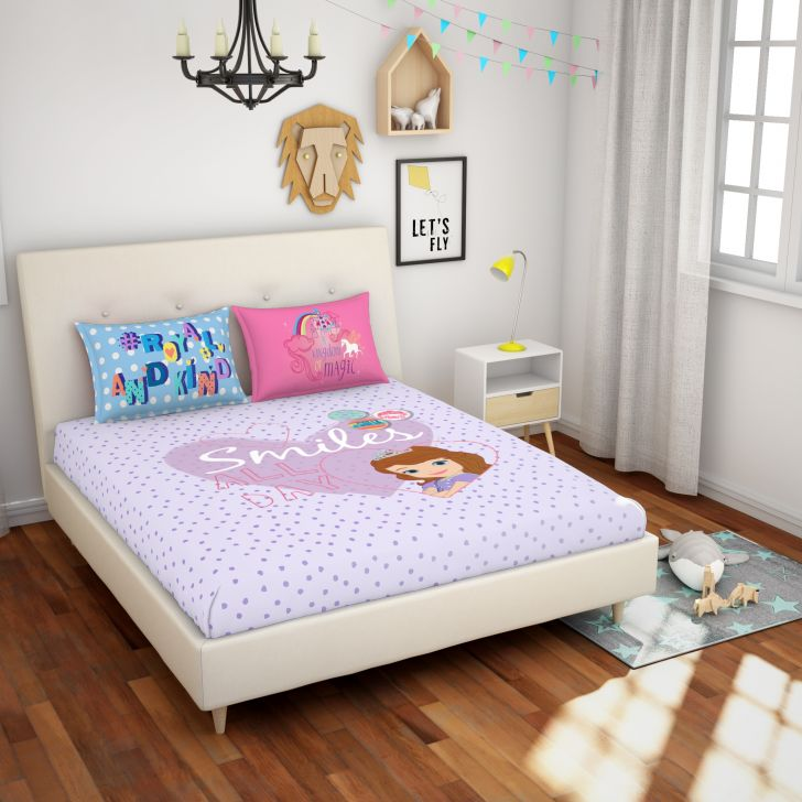 Spaces Disney Bille Pink Double Bedsheet With 2 Pillow Covers