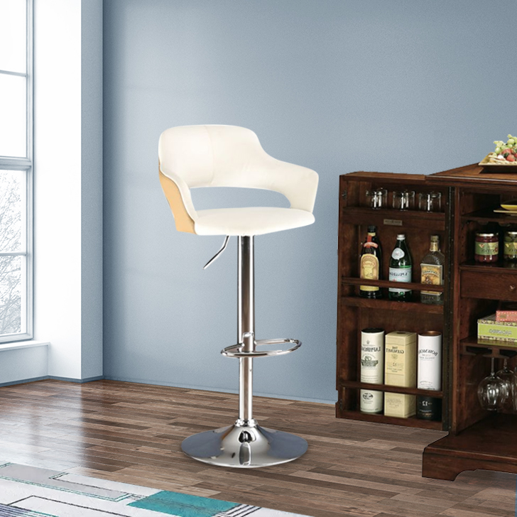 Georgia Polyurethane Bar Chair and Stool in Chrome Colour by HomeTown