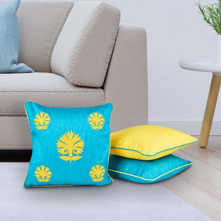 Fiesta Polyester Cushion Cover Sets in Turquoise Colour by Living Essence