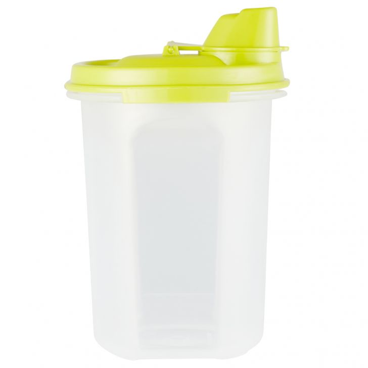 Kitchen Modular Oil Can 440 Ml Grn Plastic Containers in Green Lid And Translucent Bottle Colour by Living Essence