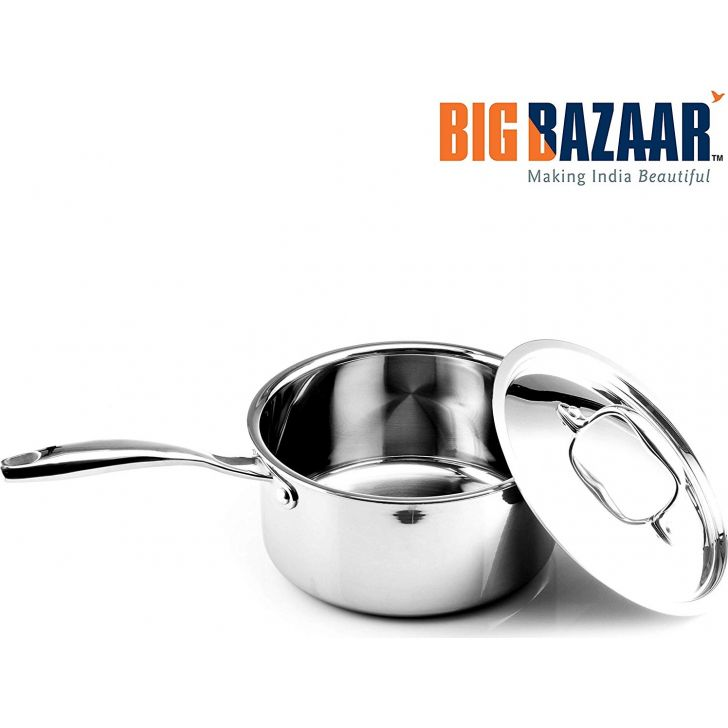Trinox Triply Induction Base Saucepan 16 cm with Lid Stainless steel Cooking Vessels in Silver Colour by Wellberg