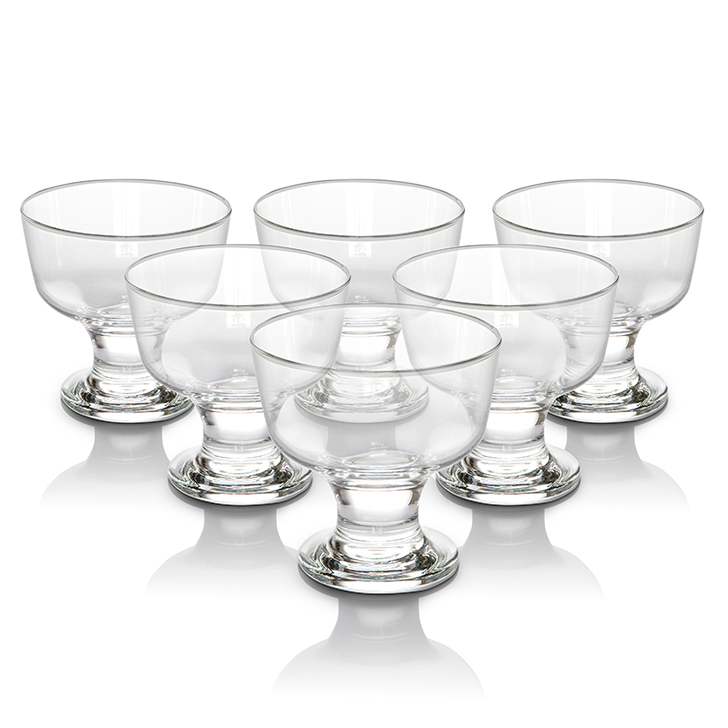 Lyra Destina Ice Cream Cup 285 ml 6 Pcs Glass Dessert Sets in Transparent Colour by Living Essence