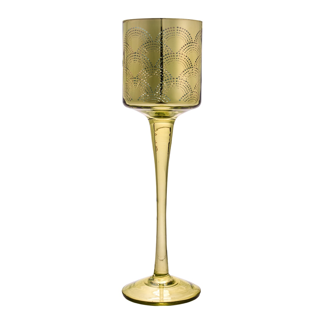 Vanessa Set of two Straight Glass Candle Holders in Yellow Colour by Living Essence