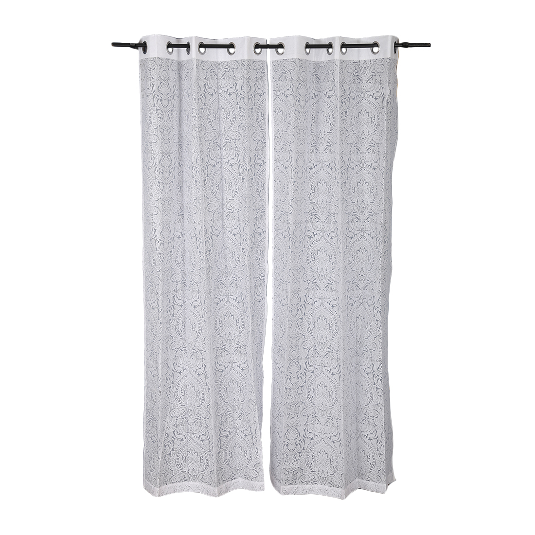Amour Cotton Polyester Sheer Curtains in White Colour by Living Essence