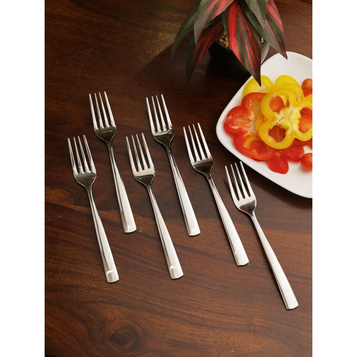 FNS Stainless Steel Solo Dessert Fork Set of 6 in Silver Colour by FNS