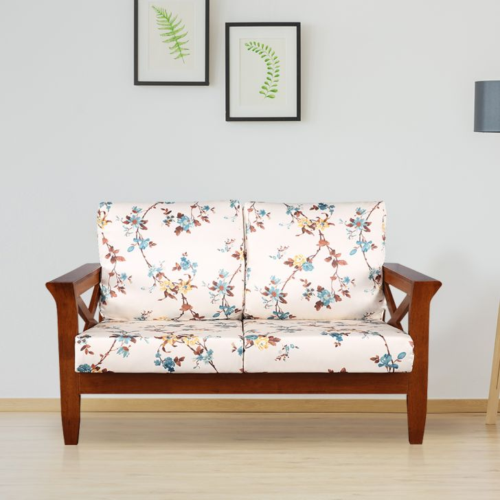 Aldrich Solid Wood Two Seater Sofa With Cushions in Floral Colour by HomeTown