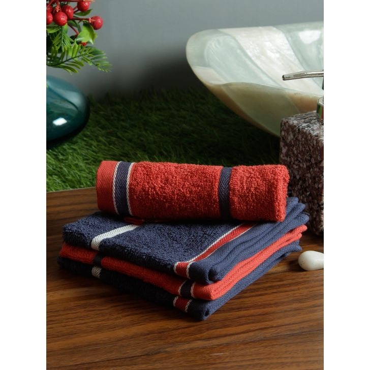 Set of 4 Emilia Cotton Face Towels in Navy Gold Colour by Living Essence