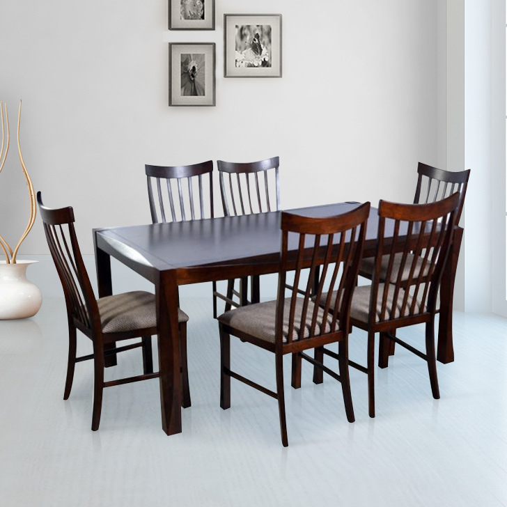 Parker Solid Wood Six Seater Dining Set in Brown Colour by HomeTown