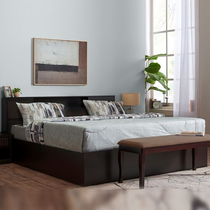 Tiago Engineered Wood King Size Bed in Wenge Colour by HomeTown