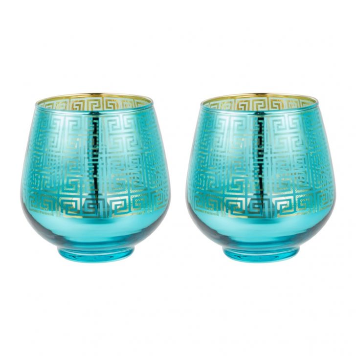 Zahara Set Of 2 Grid Etched Glass Candle Holders in BLUE Colour by Living Essence