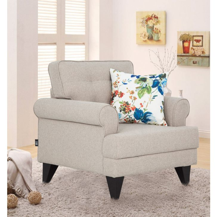 Paddington Fabric Single Seater Sofa in Beige Colour by HomeTown