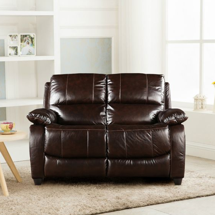 William Half Leather Two Seater Sofa in Brown Colour by HomeTown