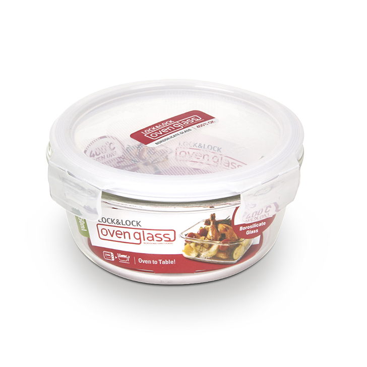 Lock & Lock Euro Round Bake And Store Container 650 ml Glass Containers in Transparent Colour by Lock & Lock